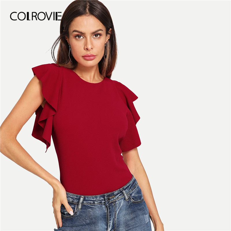 COLROVIE Burgundy Solid Ruffle Armhole Elegant   Blouse     Shirts   Women 2019 Summer Short Sleeve Form Fitted Ladies Casual Tops