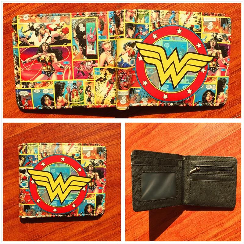 Wonder Woman Anime Colorful Leather Short Wallet Superman Action Comics Folding Purse Multi-card bit-Wallet W591