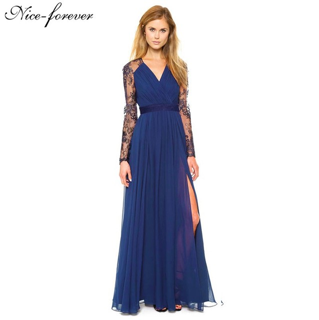 d33e44f6fc3 Nice-forever Sexy Blue Summer Elegant V Neck Long Lace Sleeve Fitted dress  Women Fashion