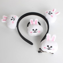 Cartoon plush bear elastic hair bands small duck bunny hair bands hair clip rope ring animal modeling headdress for girl women(China)