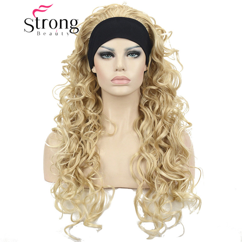 24 Wavy 3/4 Full Head wigs with Adjustable Headband Blonde and Brown Wig for Choose Synthetic Hair