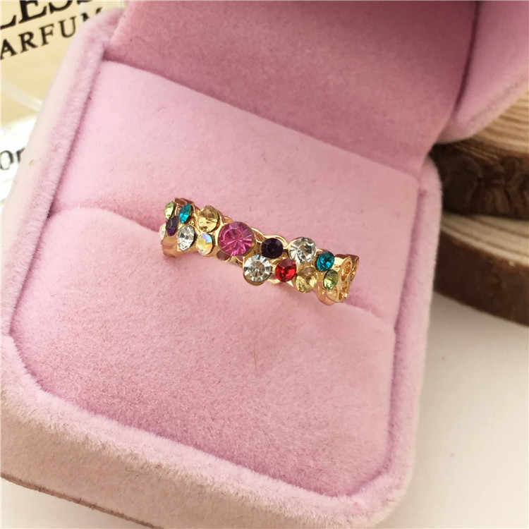 Rings Austrian Crystal Stellux 18gp Plated Flower Pattern Love Women Lady Cute Multicolor Ring Elegant Fashion Jewelry R064