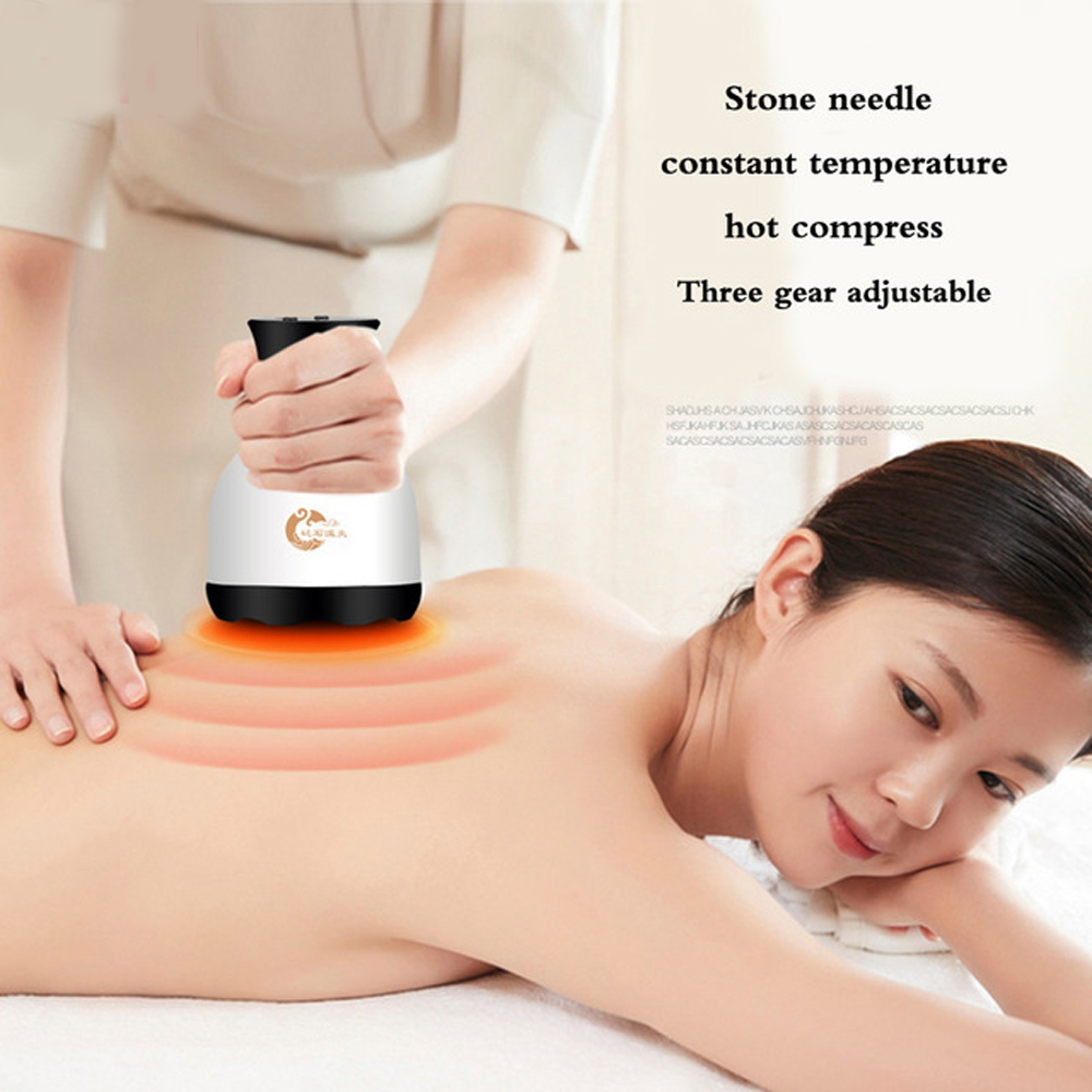 Natural Stone needle scraping instrument Electric heating massager dredging collaterals Detox Chinese Physical beauty massager