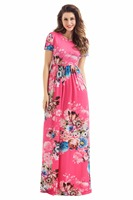 Plus Size Pocket Design Short Sleeve Watermelon Red Floral Maxi Dress Boho Dresses 2017 New Arrival