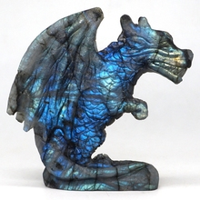 Wing Dragon Figurine Natural Labradorite Hand-Carved Statue Crafts Home Office Decor 5