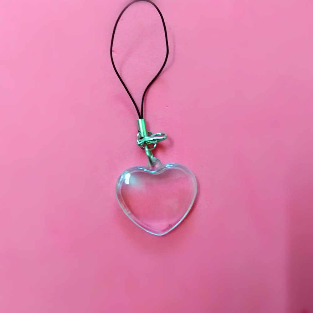 1 יחידות לובסטר אבזם חבל לב מלבני בצורת הוספת תמונת תמונת מסגרת מפתח טבעת פיצול keychain