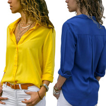 Spring Autumn Women Chiffon Blouse Shirts Casual Long Sleeve Solid OL Female Wor