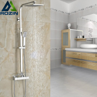 Wall Mounted Bath Shower Mixer Faucet Temperature Contral Mixer Valve Shower Set Dual Handle 8 Rainfall Showerhead