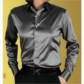 2017 Nueva Llegada Por Encargo Cualquier Color Elástico de Satén de Seda Camisas de los hombres Camisa De Boda Del Novio Del Desgaste Del Novio Camisa Slik Para hombres