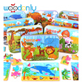 Wooden jigsaw puzzle four in one iron box learning educational toys for children cartoon puzzle oyuncak