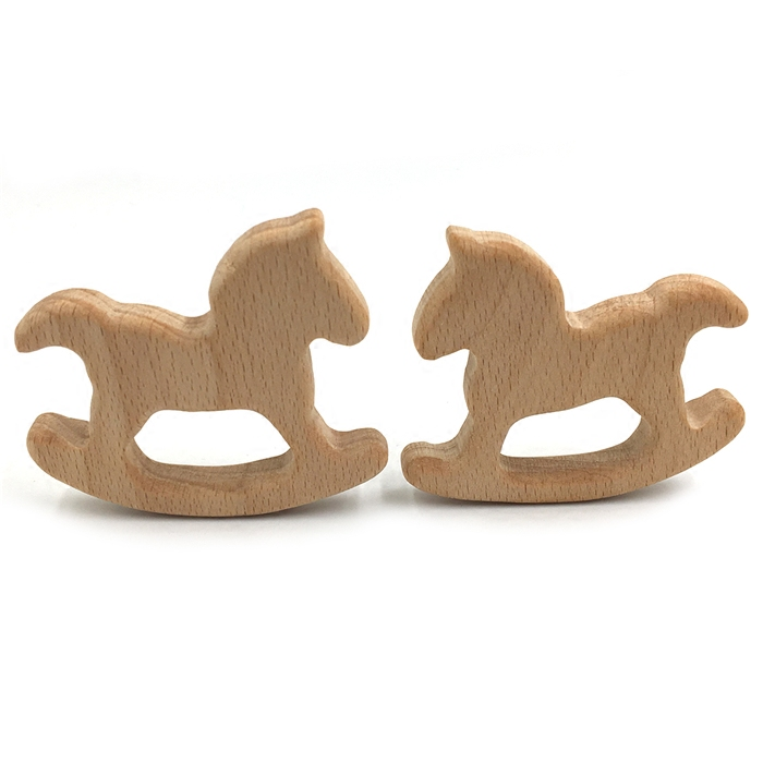 Lovely Cartoon Wood Horse Teether 1Pc Pure Natural Animal Shaped Baby Teething Nursing Beech Teether Baby Girl DIY Pendant Toy