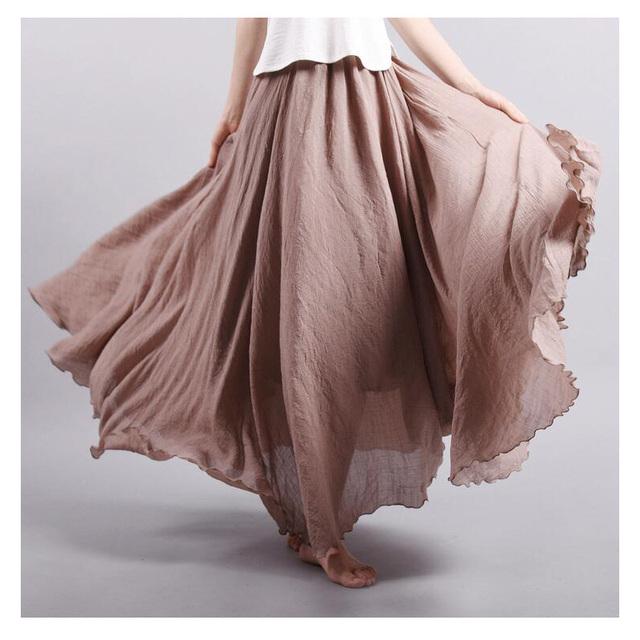2017 marca de moda das mulheres de linho de algodão saias longas de cintura elástica plissada literária estilo vintage verão saias faldas saia 18 cores