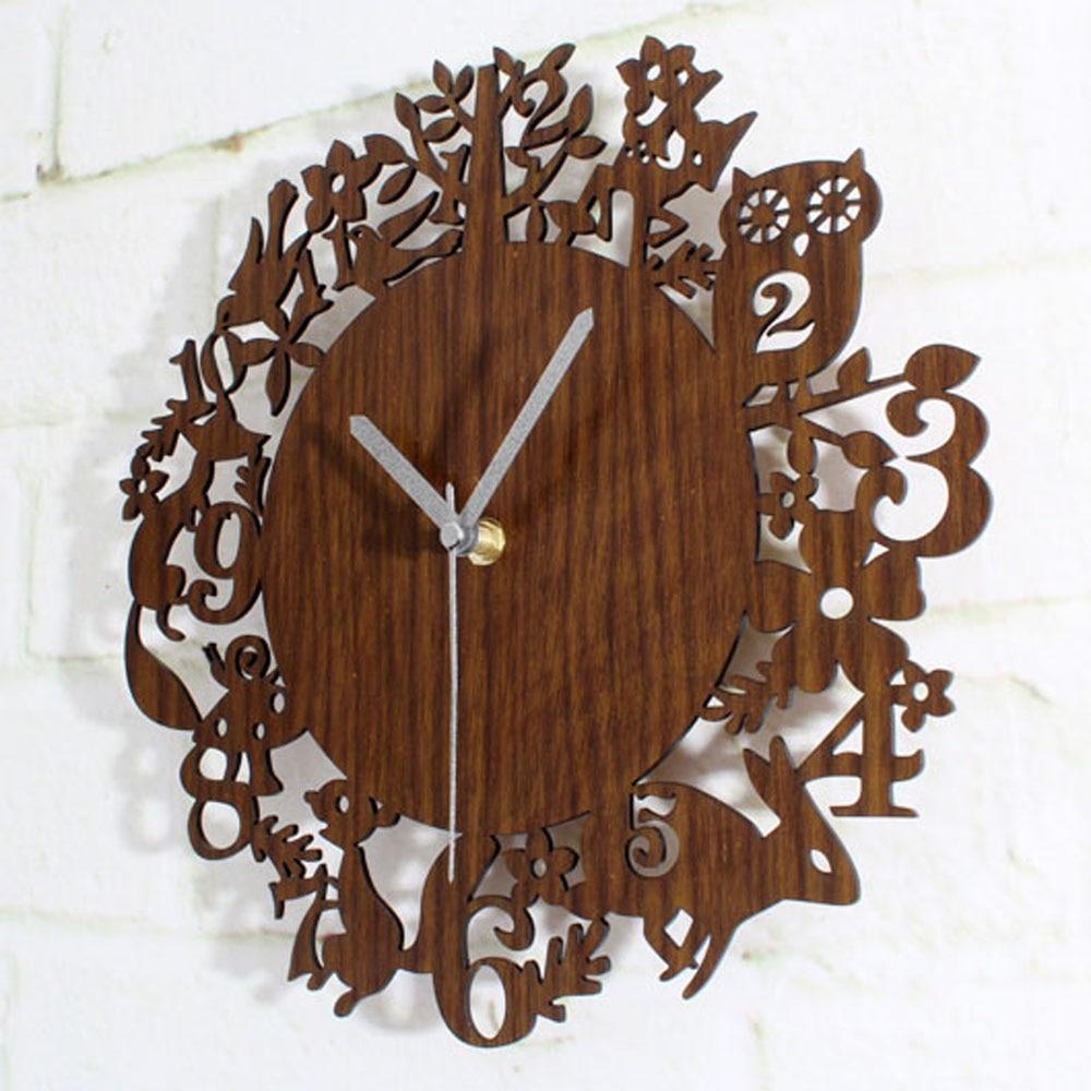 Cute Cartoon Wooden Wall Clock Simple Modern