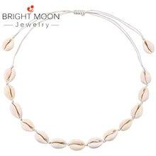 Яркая луна, натуральный Каури, ожерелье, чокер для женщин, Vsco Puka, ожерелье, регулируемое Гавайское пляжное ожерелье из ракушек