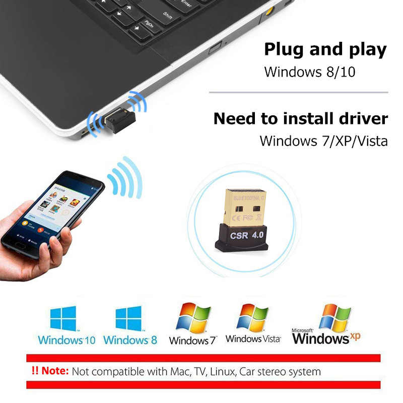 BinFul Mini USB Bluetooth Adapter V4 0 CSR Dual Mode Bluetooth Dongle 4 0  Transmitter For Windows 10 8 Win 7 Vista XP 32/64Bit