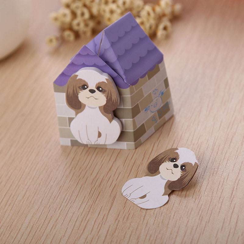 5pc/lot Cute 3D Mini Dog Notepad Animal Self-Adhesive Memo Puppy House Post-It Sticker Cartoon Massage Scrapbooking Marker Paper