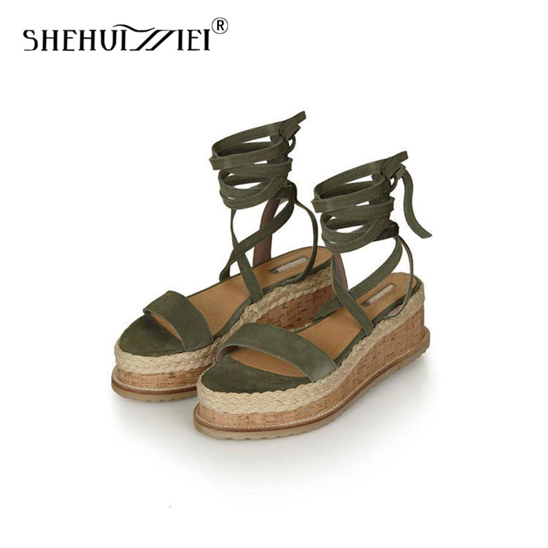 Shehuimei Gladiator Sandals Bohemia Weaven Wedges Ankle Cross Straps Cut Outs High Heels Platform Summer Style Sandals Women casual women s sandals with platform and cross straps design