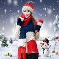 Guantes bufanda del sombrero de tres piezas conjunto de una pieza silenciador bufanda niñas engrosamiento de invierno hizo punto el sombrero de la navidad de regalo de cumpleaños femenino