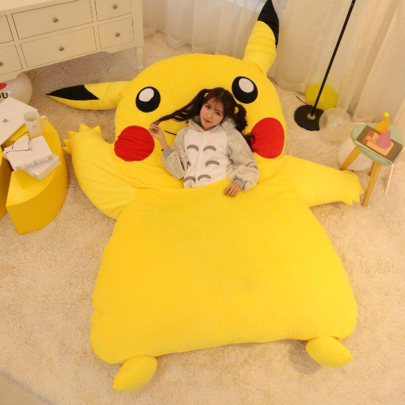 Japan Anime Pikachu Sleeping Bag Pikachu Cartoon Mattress Giant Totoro Double Bed Cushion Plush