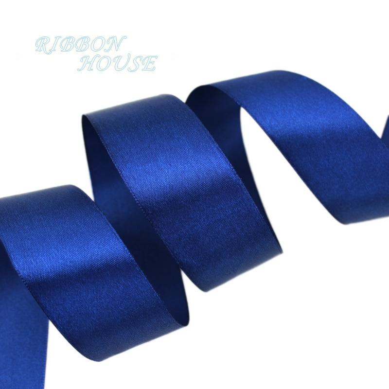 (25 ярдов/рулон) 40 мм Темно-синие Тесьма украшения Один Уход за кожей лица атласная лента Подарочная Рождество Ленты