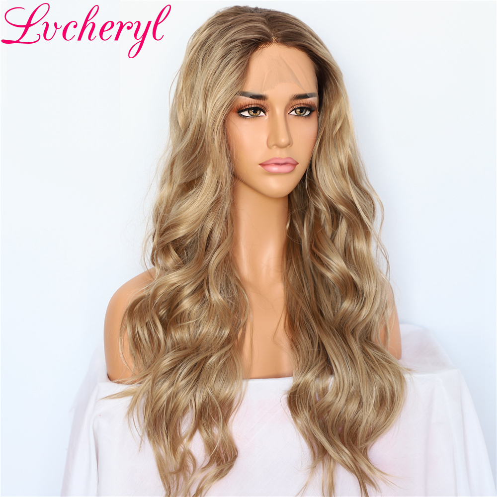 Lvcheryl Hand Tied Natural Wave Ombre Blonde Brown Hair Roots Wedding Hair Wigs Synthetic Lace Front Wigs for Women Daily Wear in Synthetic None Lace Wigs from Hair Extensions Wigs