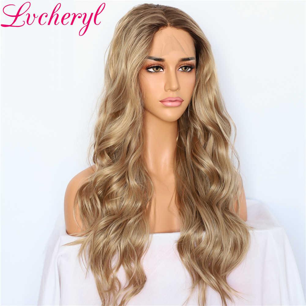 Lvcheryl sentetik dantel ön peruk kadınlar için doğal dalga Ombre sarışın kahverengi saç kökleri düğün saç peruk el bağlı saç peruk
