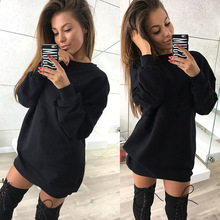 punk fashion 2019 and winter sweatshirt womens casual long solid pullovers hoodies o-neck clothing XL