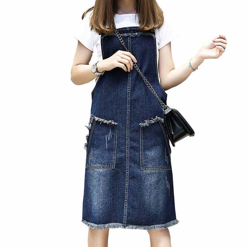 2019 New Fashion Denim Dress Spring Summer Casual Loose Denim Sundress  Overalls Spaghetti Strap Jeans Dress 6856f13cb933
