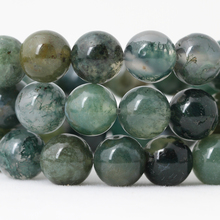 """Wholesale Moss Grass Agat Natural Stone Round Loose Green Beads For jewelry Making 4/6/8/10/12 MM DIY Bracelet Strand 15.5"""""""