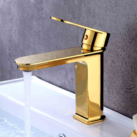 Basin Faucets Golden Finish Brass Hot and Cold Single Handle Basin Mixer Taps Deck Mounted Bathroom Faucets Sink Faucet 3 Color