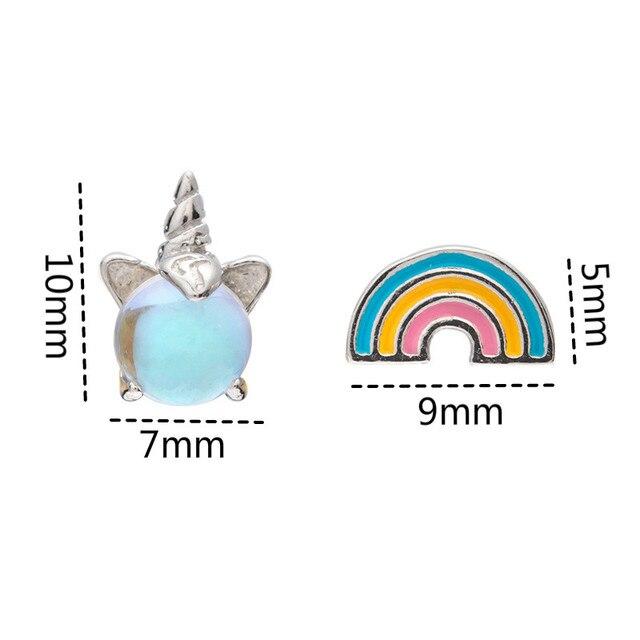 Silver Cute Rainbow Unicorn Stud Earrings
