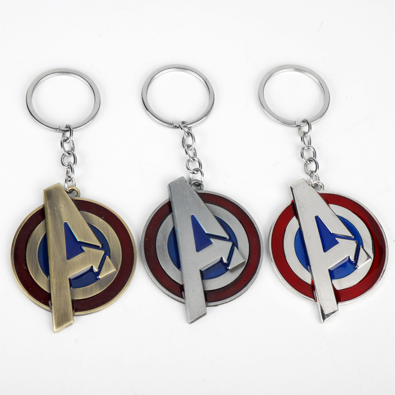 Newest Marvel Movie The Avengers 4 Red Letter Keychains Superhero Captain America Charm Keyring Key Chains Enamel Metal Holder image