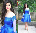 2016 New Sexy Cocktail Dresses Off Shoulder Long Sleeves Lace Beads Royal Blue Short Homecoming Dress Formal Party Prom Gown