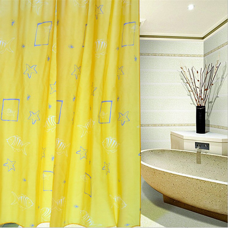 shower curtain thick high grade opaque yellow starfish shower curtain