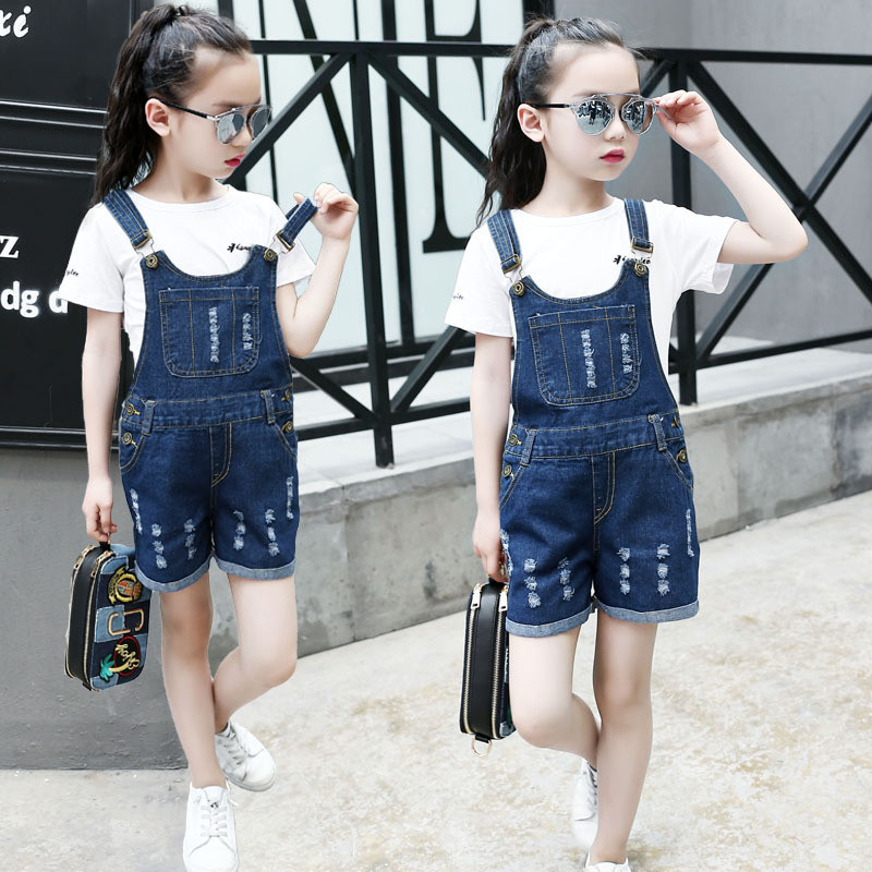 JMFFY Baby Girls Jeans Pants Overall Trousers Summer Infant Fashion Pants Children 2019 Denim Jumpsuit Cowboy Ripped Hole 4-15T