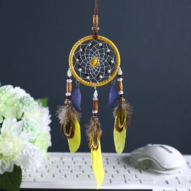 Car Pendant Feather Bohemian Style Dream Catcher Hanger Art Craft Ornament Auto Rearview Mirror Decoration Accessories Gifts