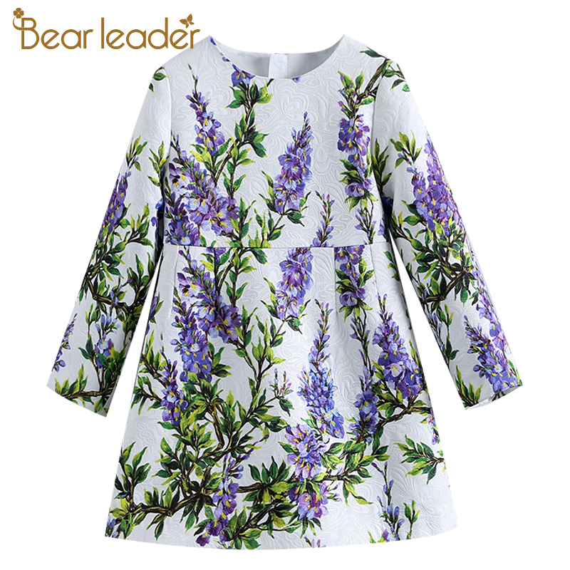Bear Leader 2018 New European and American Style Childern Clothing Flowers and Grass Pattern Long Sleeves Girl Dresses For 4-14Y fashion colorful flowers and riding girl pattern removeable wall stickers