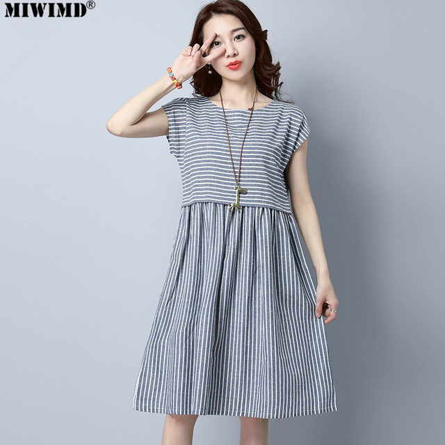 261664be95 MIWIMD Women Summer Dress 2018 New Fashion Casual Loose Stitching Striped  sleeveless Vintage Cotton Linen Dresses Big Size