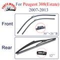 Kit Dianteiro E Traseiro de Borracha de Silicone Wiper Blades Para Peugeot 308 (Eatate) 2007-2013.Windscreen Limpadores Acessórios Do Carro