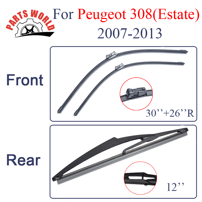 Kit Silicone Rubber Front And Rear Wiper Blades For Peugeot 308 Eatate 2007 2013 Windscreen Wipers