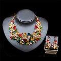 Новая Африка Свадебные ювелирные Наборы Полный Австрийский Кристалл Ожерелье Серьги Наборы Для Женщин Свадебные Украшения Наборы LF-G025