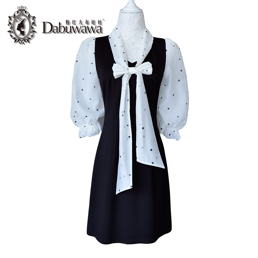 Dabuwawa Black Autumn Dress False Two Pieces Polka Dot Bow Dress Elegant Casual Dress Vestido new fashion autumn winter girl dress polka dot