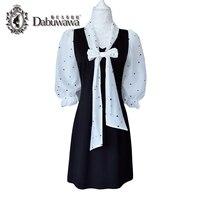 Dabuwawa Schwarz Herbst Kleid Falsche Zwei Stücke Polka Dot Bogen Kleid Elegant Casual Dress Vestido
