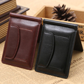 Top Quality Leather money clip wallet with coin pocket leather clamp for money crad holder leather purse simple style black