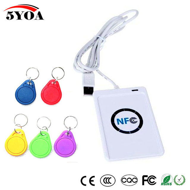 NFC ACR122U RFID smart card Reader Writer Copier Duplicator writable clone  software USB S50 13 56mhz ISO 14443+5pcs UID Tag