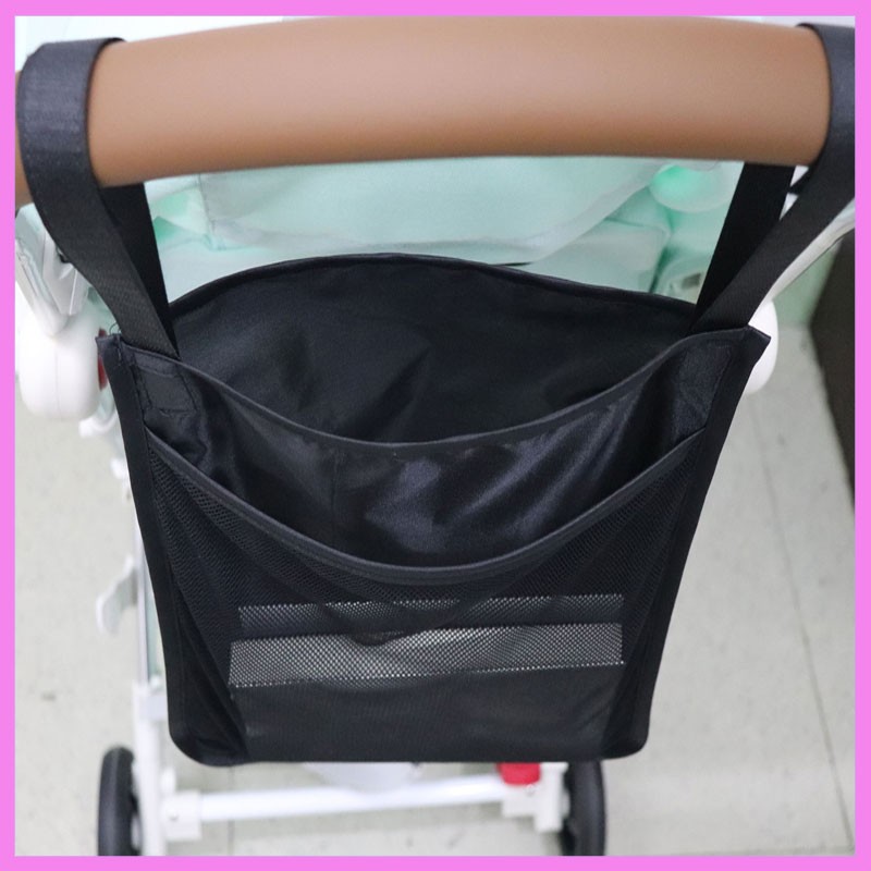 Black Double Layer Baby Stroller Storage Bag Baby Umbrella Car Hanging Bag Pram Accessories Organizer Cup Holder Diaper Bag 0~3Y