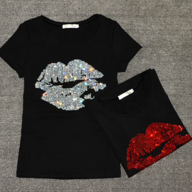 Summer Women Sequins Lips Tshirt Drilling O-neck Short Sleeve Basic Bottoming Shirts Beading Sexy T-shirts 2018 Casual Tops XXXL