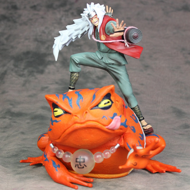 Anime NARUTO SHIPPUDEN Jiraiya with Toad Mount Frog GamaBunta Summon Monster Figure Model Toys Two in one