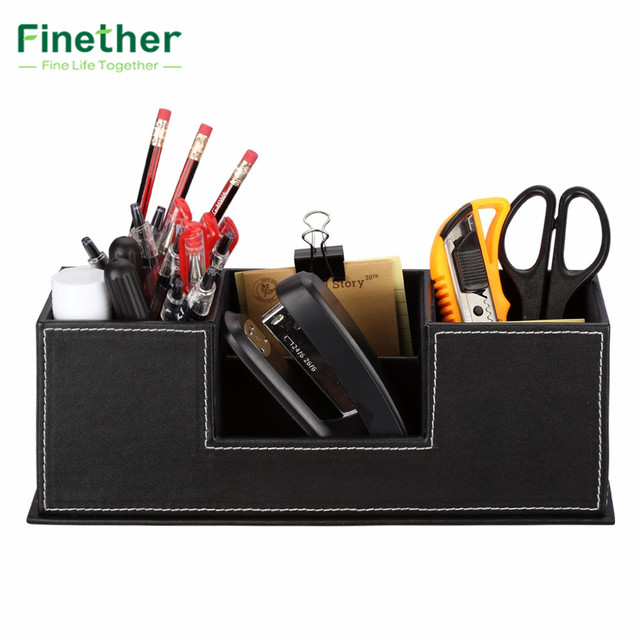 Finether Storage Bo Paperboard Frame Pu Leather Office Desk Organizer For Stationery Pen Supplies