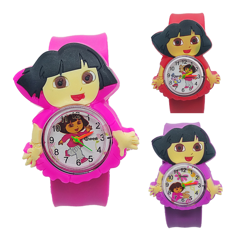 Dora Girls Clock Children Fashion Watches Quartz Wristwatches Waterproof Jelly Kids Clock Boys Students Watch Relogio Kol Saati